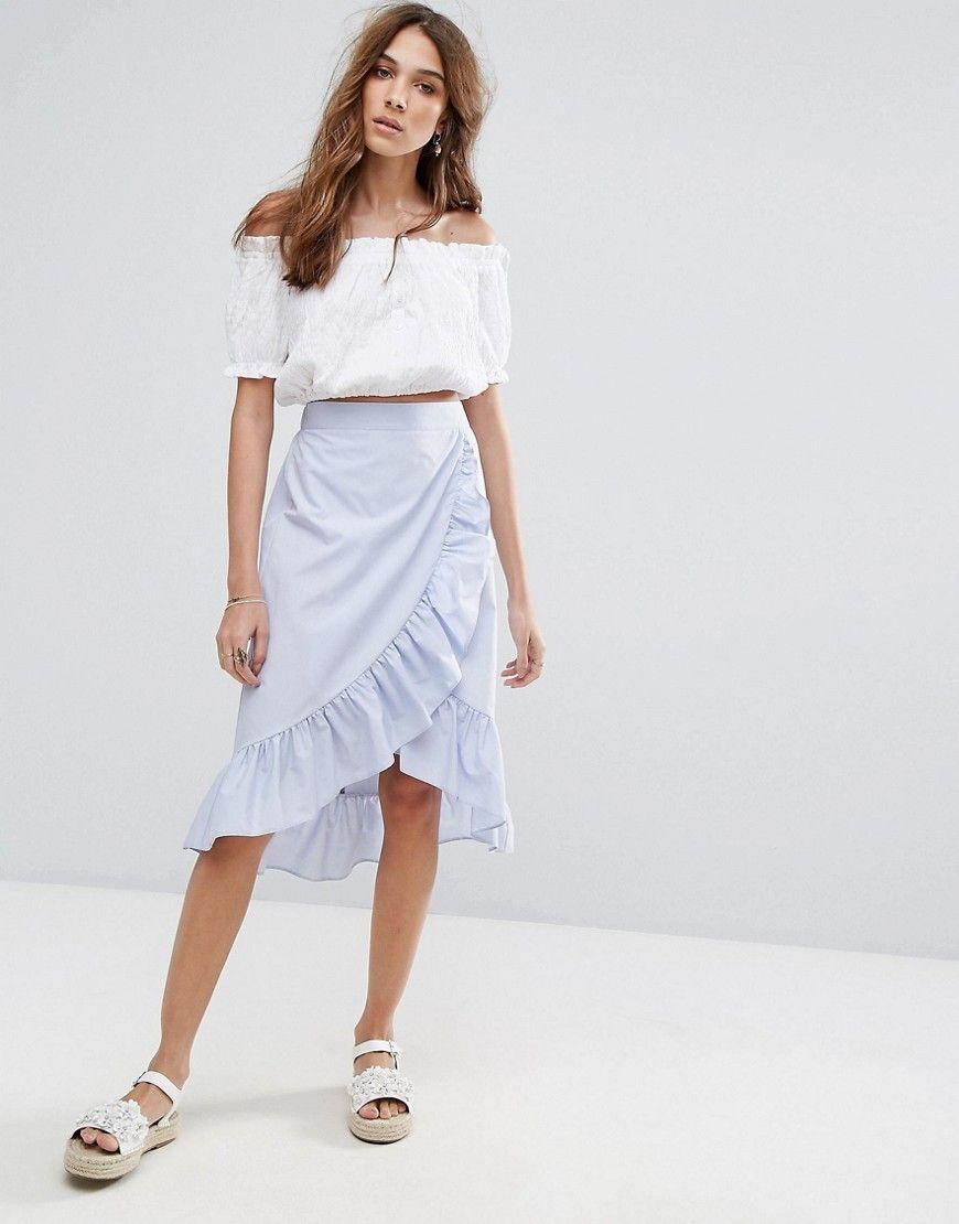 2e843ab1f Miss Selfridge Ruffle Tie Waist Midi Skirt - Blue   MS SKIRTS   Midi ...