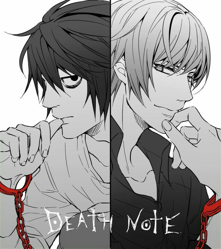 Raito, Light, L, chains, handcuffs, text; Death Note Death Note - death note