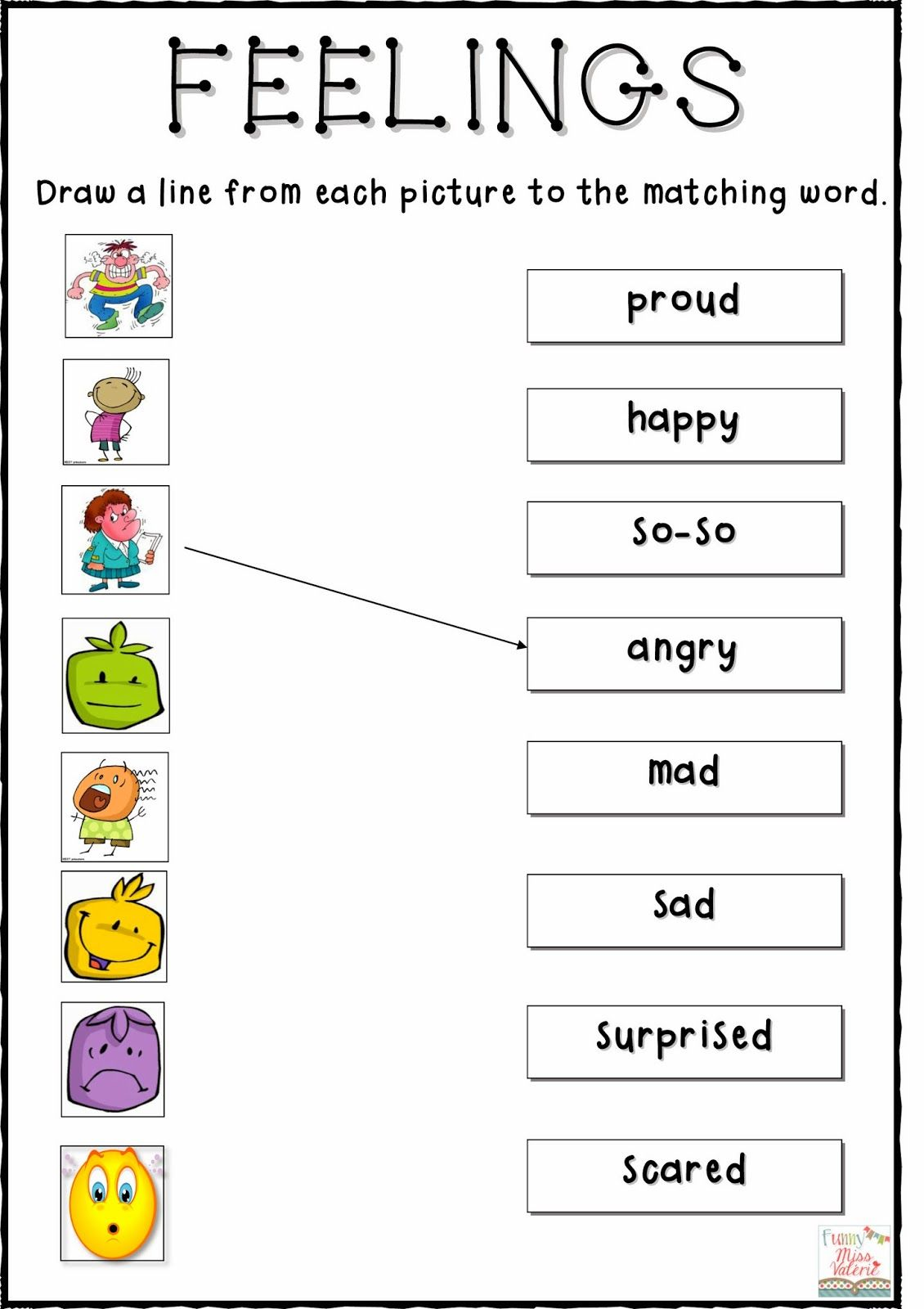 Feelings Matching Worksheet