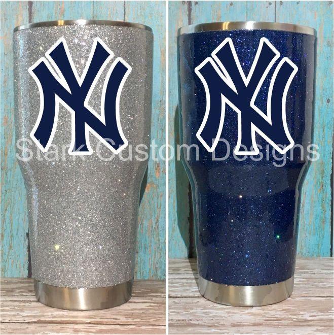 New York Yankees Inspired Glitter Tumbler Yeti Rtic Or