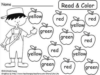 Johnny Appleseed Read & Color, Roll & Cover | Kindergarten ...