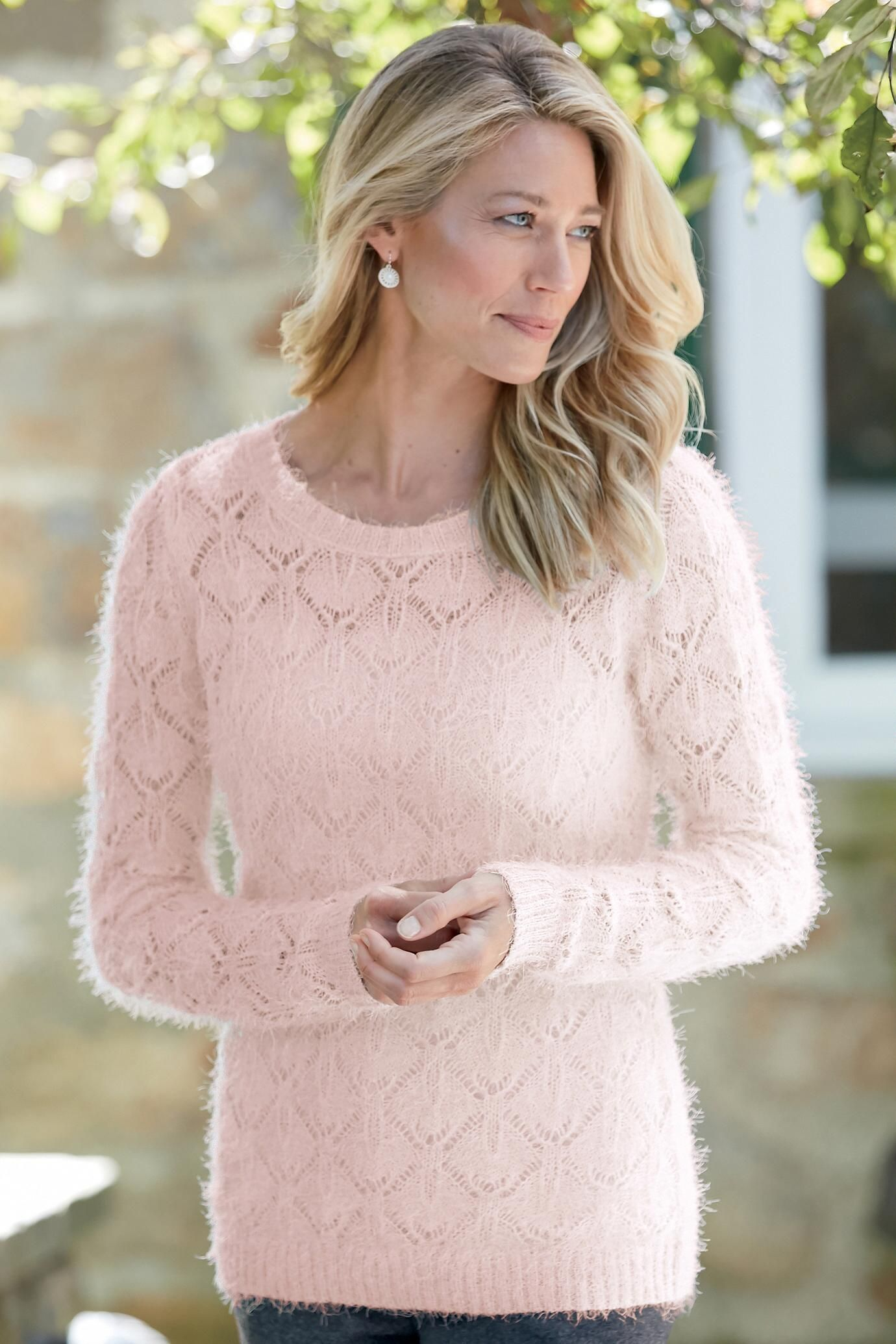 Feminine Pointelle Sweater | Chadwicks of Boston