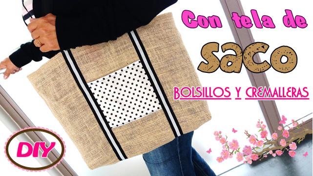 Bolso con tela de saco y cremalleras toma nota - Saco arpillera ...