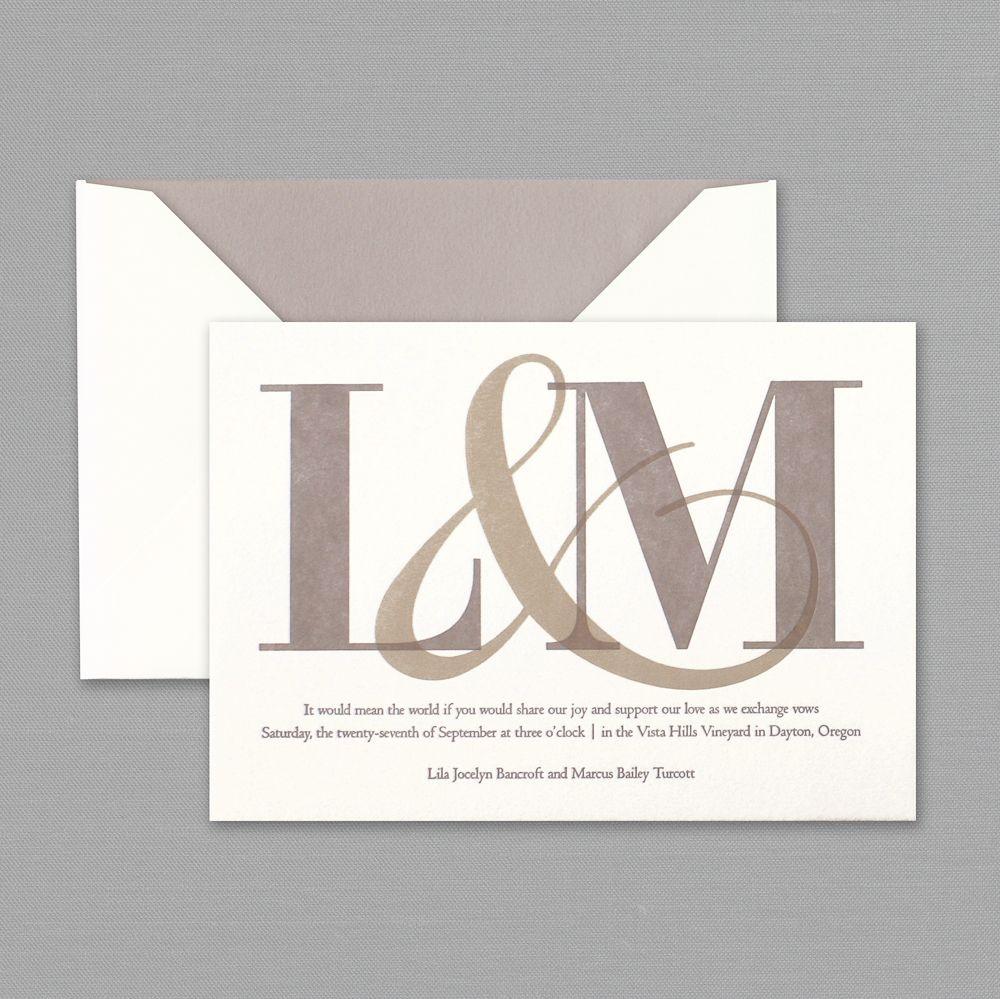 Vera Wang Oyster White Letterpress Wedding Invitations | gawgeous ...