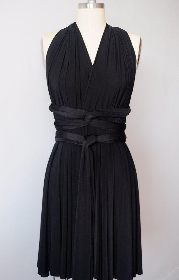 Black SHORT Infinity Dress Convertible Formal Multiway Wrap Dress ...