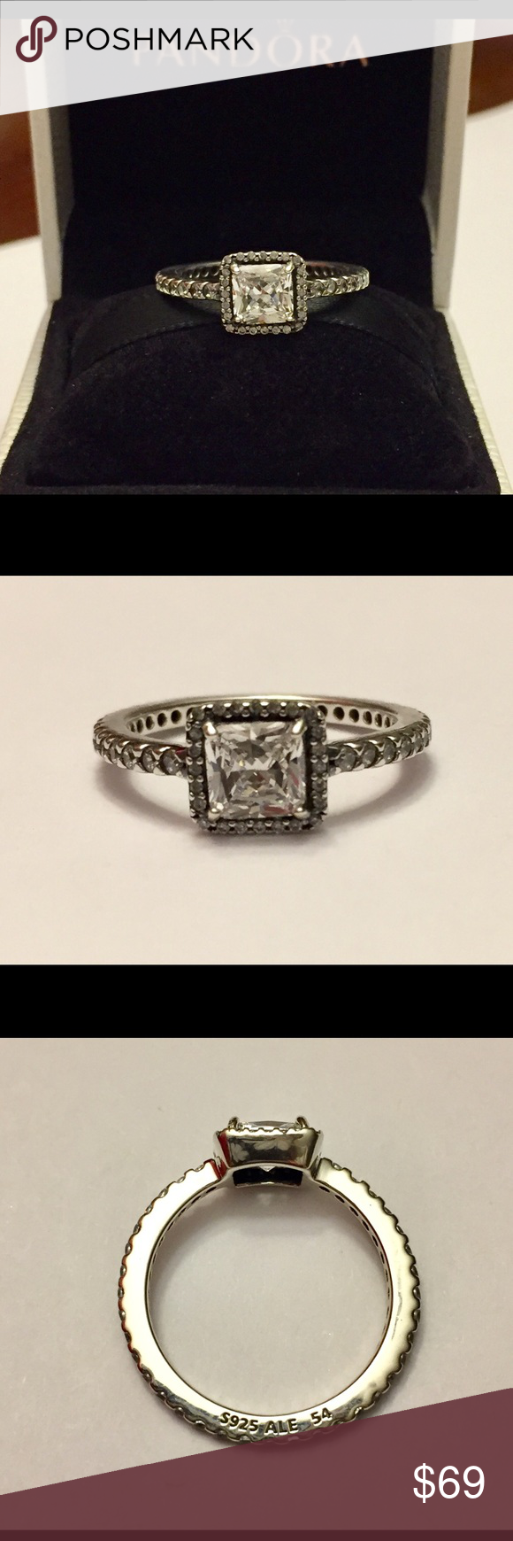 a4f0feb6f Authentic Pandora Timeless Elegance Ring size 7-54 Sterling Silver with  Cz's. Hallmark Stamp S 925 ALE. The Pandora Hinged Box is included. No  Trading.