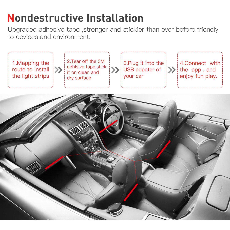 Car Led Light Strip App Bluetooth Control Jackyled 4pcs 48 Led Usb Plug Dc 5v Multicolor Music Car Interior Light Led Under Dash Car Led Lights Car Bar Car Led