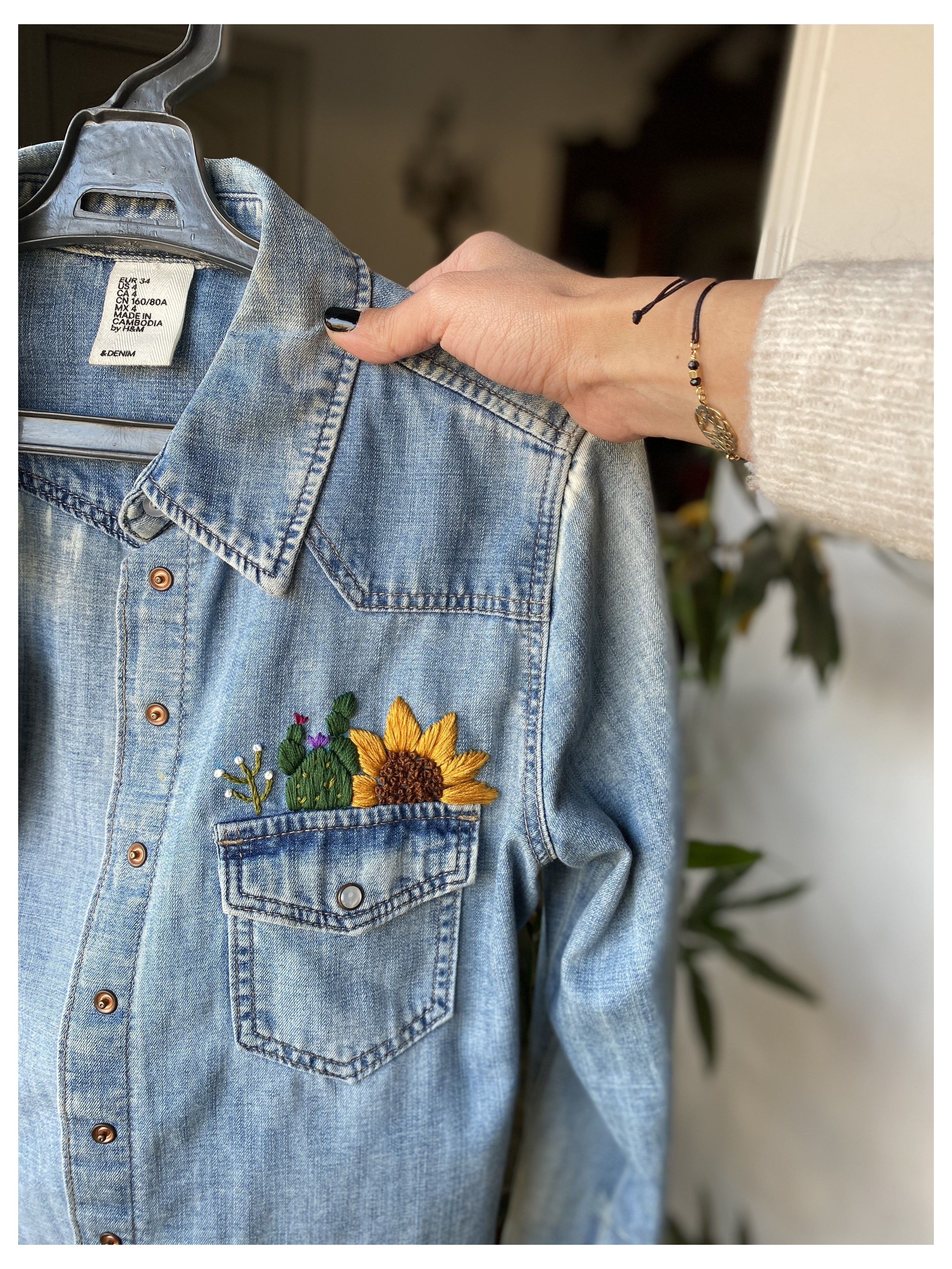 Hand Embroidery Denim Jacket Embroidery Ideas Denimjacketembroideryideas Clothes Embroidery Diy Embroidered Denim Jacket Embroidered Denim Shirt [ 4192 x 3144 Pixel ]