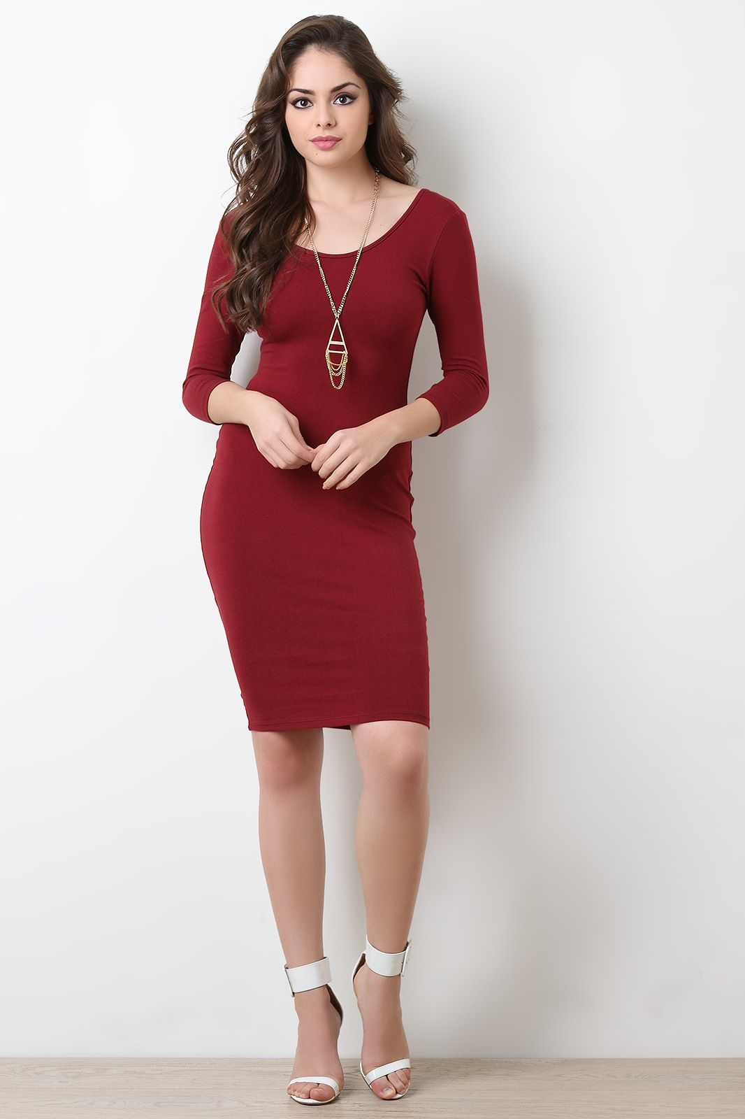 Simple stretchy knit scooped midi dress urbanog clothing