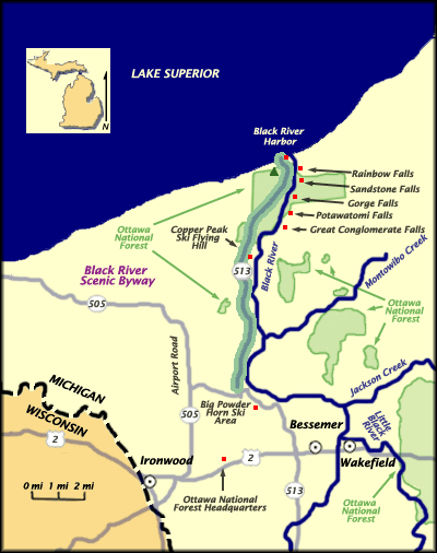Blackriver Map The Lake Of The Clouds Shown From The Escarpment