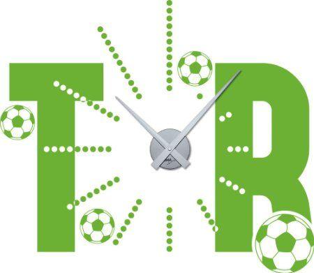 Wandtattoo Uhr mit Uhrwerk Wanduhr Design Sport Fußball Tor mit ...