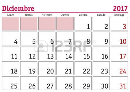 December month in a year 2017 wall calendar in spanish Diciembre
