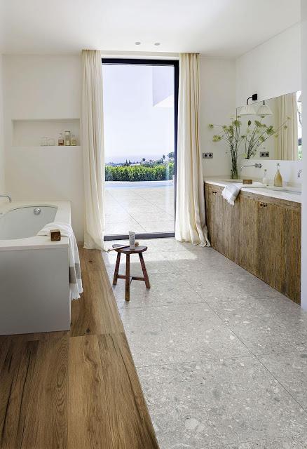 Terrazzo Look Und Allererster Bautag Badezimmer Holzboden Vinylboden Terrazzo
