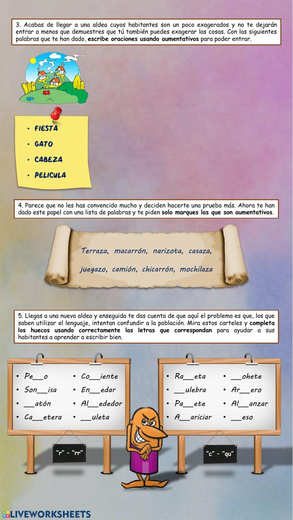 Tierra De Locos Prueba De Lengua Ficha Interactiva Reglas De Acentuación Prefijos Y Sufijos Determinantes Demostrativos