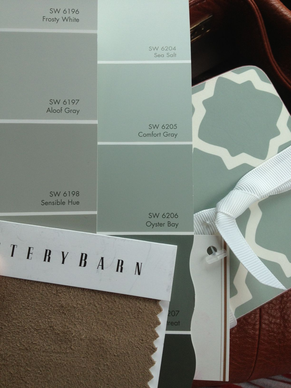 Sherwin Williams Oyster Bay for the dining room and Sensible Hue for the rest of the downstairs.