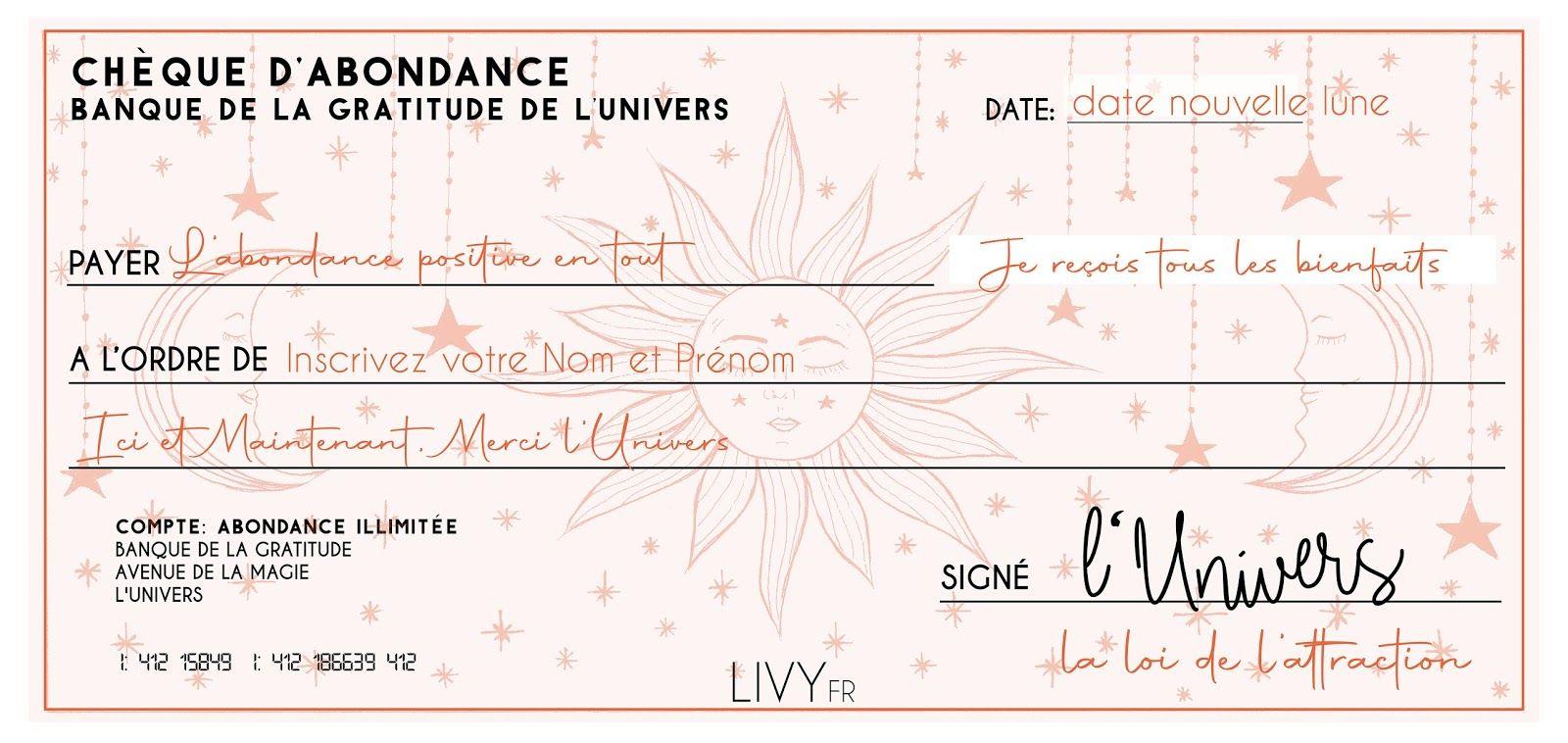 Chèque d'Abondance: laissez la magie de l'Univers réaliser vos plus grands  souhaits [+ FREEBIE] — Livy…   Cheque abondance, Abondance, Loi de  l'attraction citations