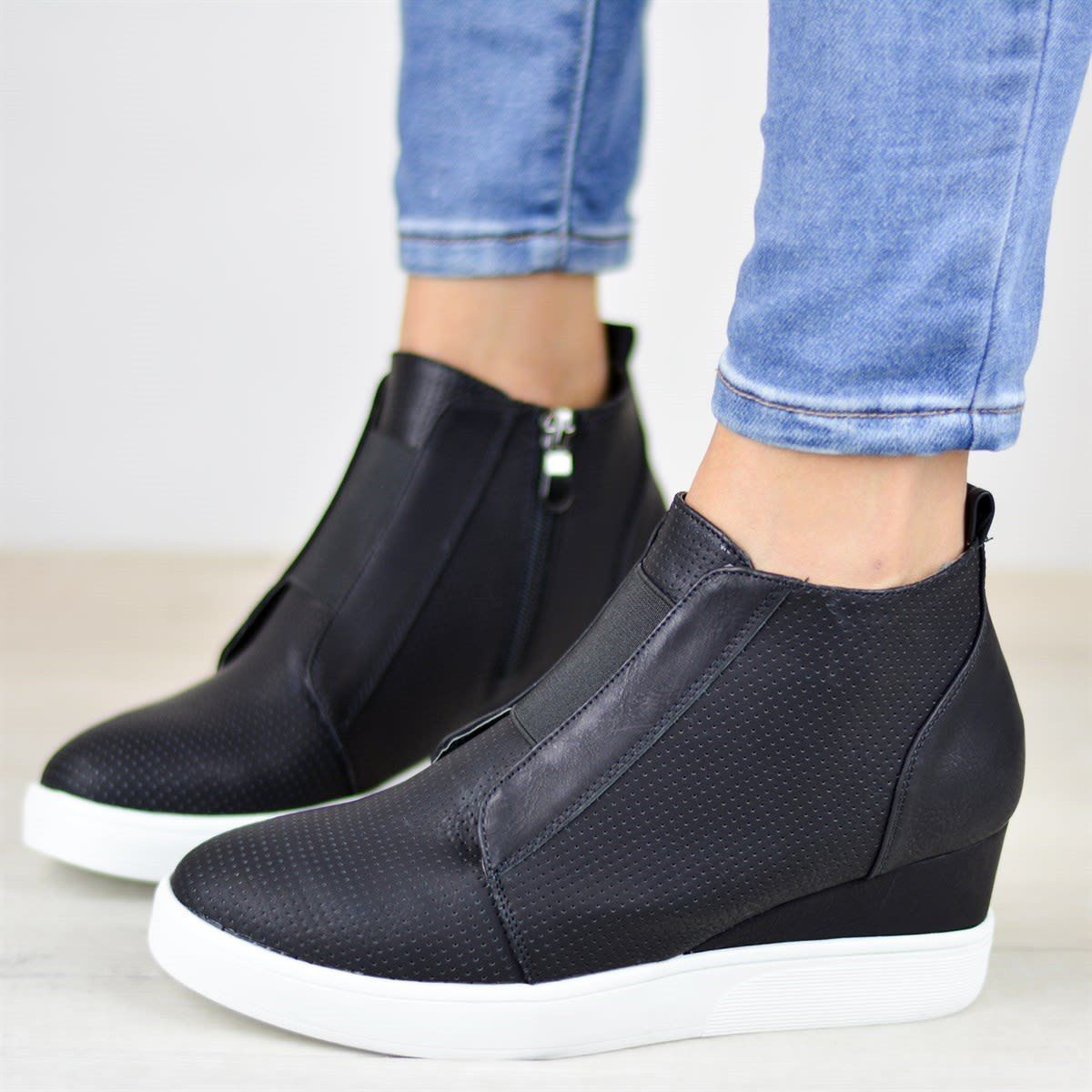 Womens Platform Wedge Sneakers Fashion Closed Toe Perforated High Top Side Zipper Ankle Booties by Nevera
