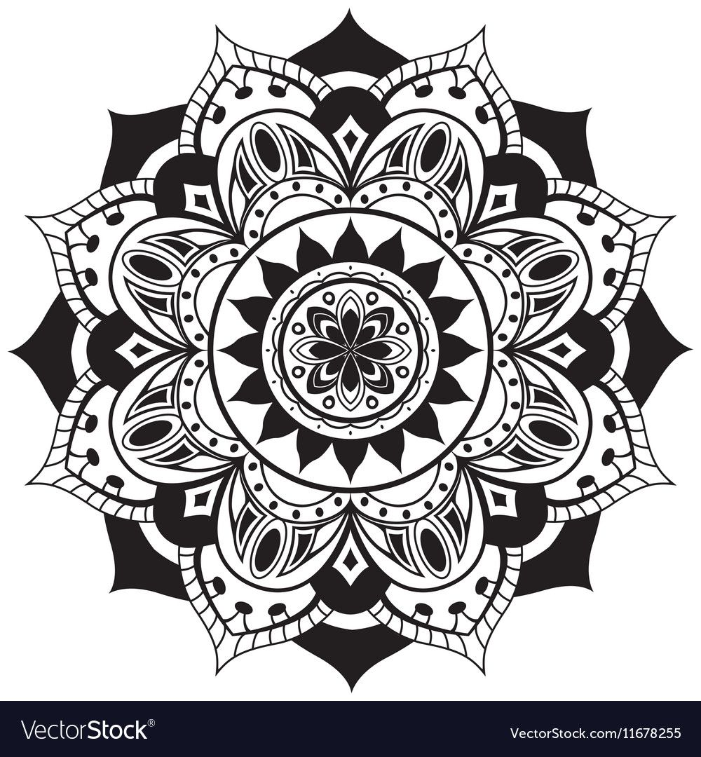Black simple mandala vector image on em 2020 Arte com