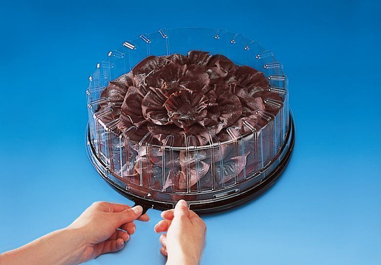 Black round plastic cake box with clear plastic lid