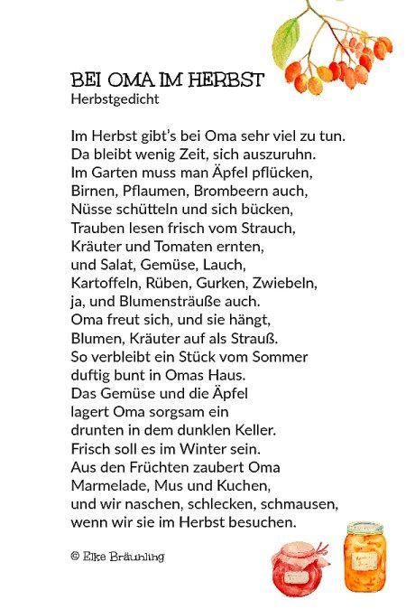 Bei Oma Im Herbst Herbstgedichte Für Kinder Gedicht