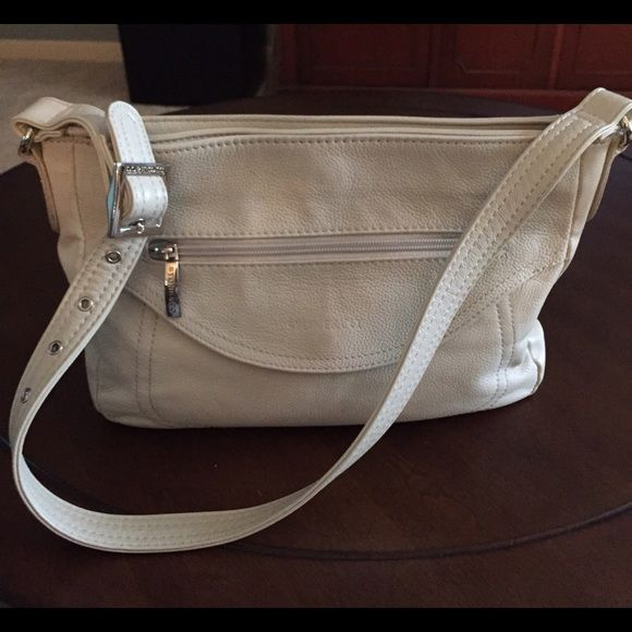 Stone Company Leather Handbag Very Nice Classic Soft Ivory Color Medium With 1