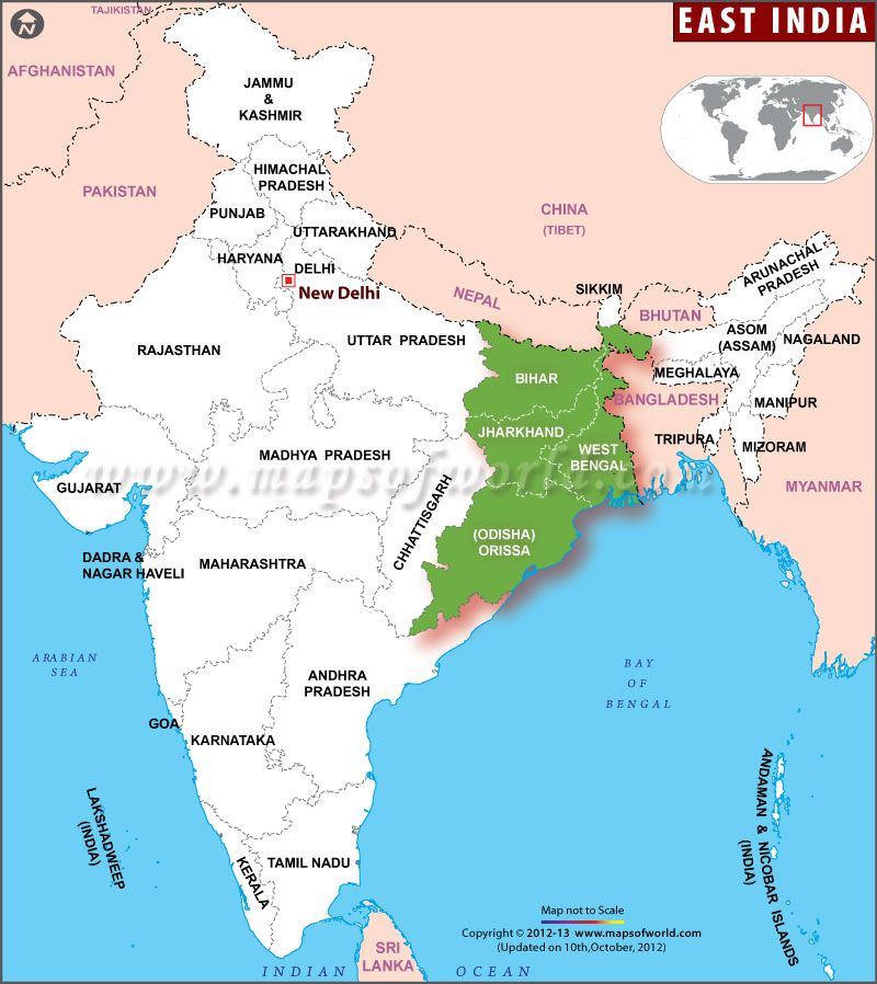 Map showing the EastIndia states West Bengal Odisha Bihar and