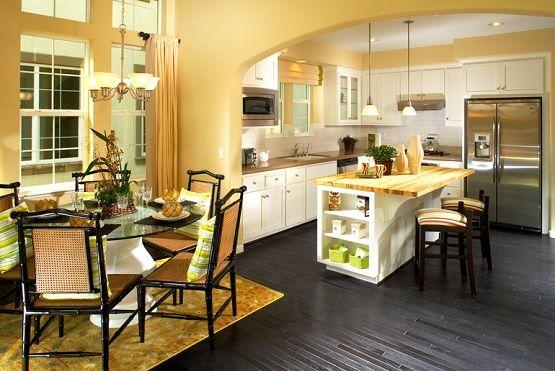 Dark Painted Wood Floor Dining Room