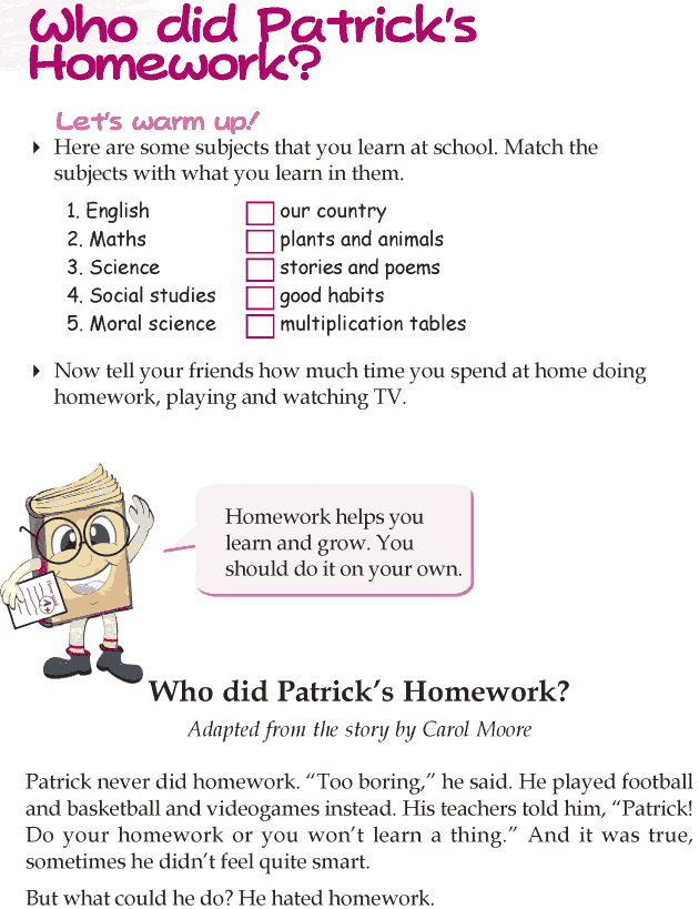 Worksheets Examples Short Story For Grade Three With Exercises grade 3 reading lesson 2 short stories who did patricks homework homework