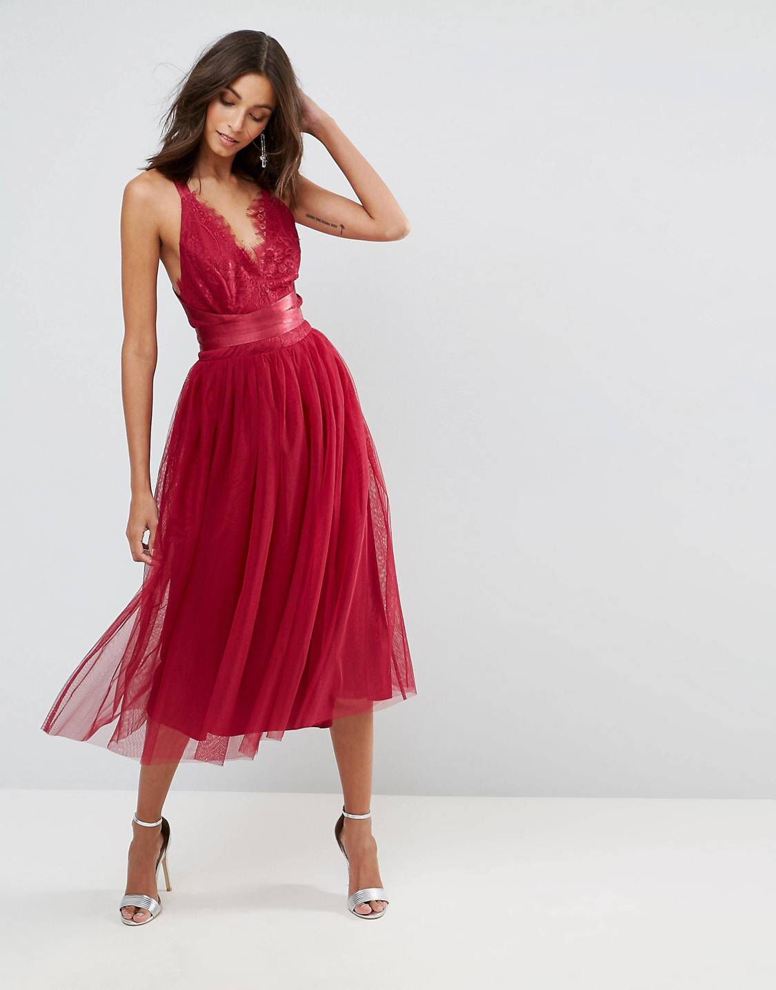 TALL PREMIUM Lace Top Tulle Midi Prom Dress with Ribbon Ties