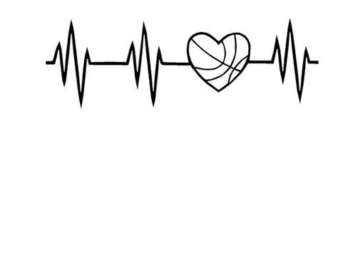 Basketball Heart Heartbeat Svg Or Silhouette By Mandanoelle