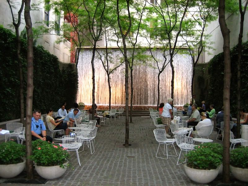 Paley park with waterfall wall nyc nyc pinterest for Urban waterfall design