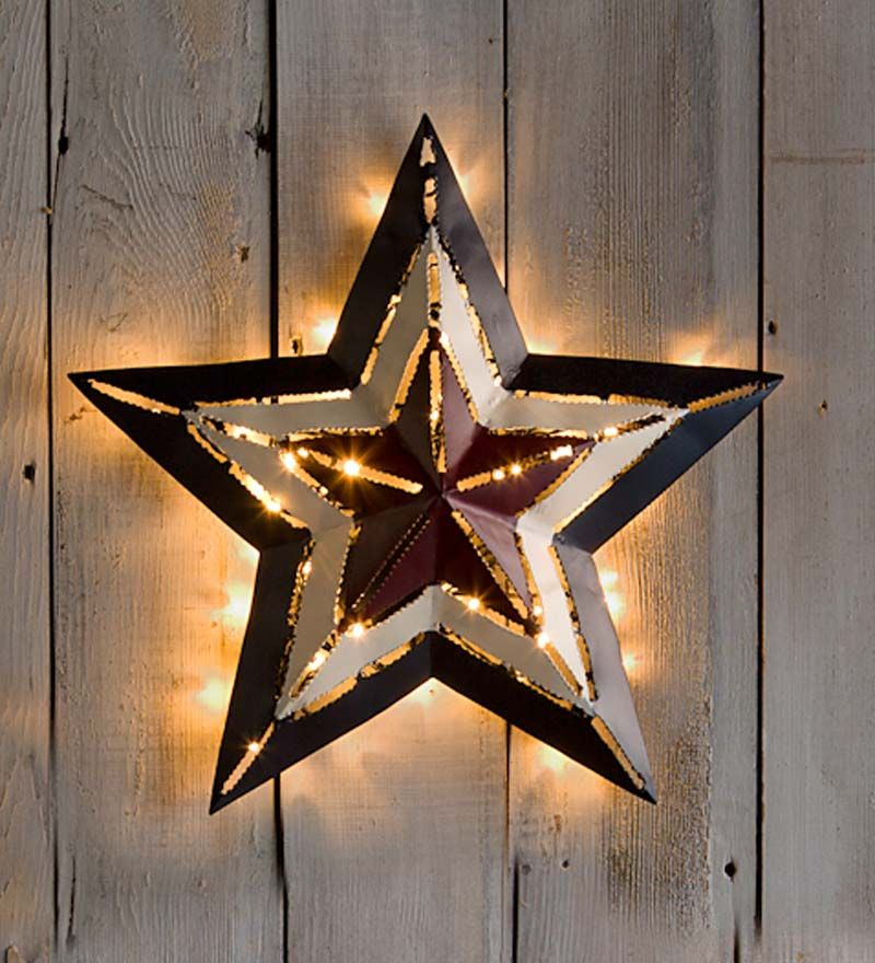 Small Lighted Americana Metal Star, 16frac34 For the Home