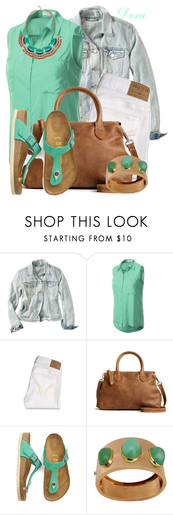 """Birkenstock"" by doradabrowska ❤ liked on Polyvore featuring Gap, J.TOMSON, Hollister Co., Birkenstock and Boohoo"