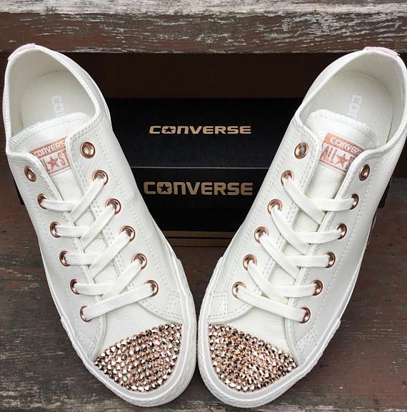 f95c9161678 Ivory Cream Blush Pink Rose Gold Wedding Converse Leather Low Top Chuck  Taylor w  Swarovski Crystal Rhinestone Jewel All Star Sneaker Shoes