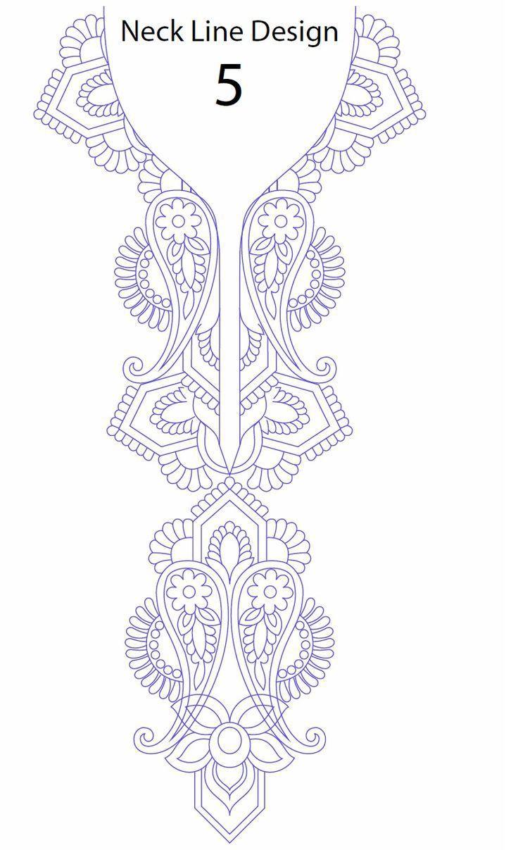 Hand embroidery designs for kurtis neck | Blusas bordadas ...