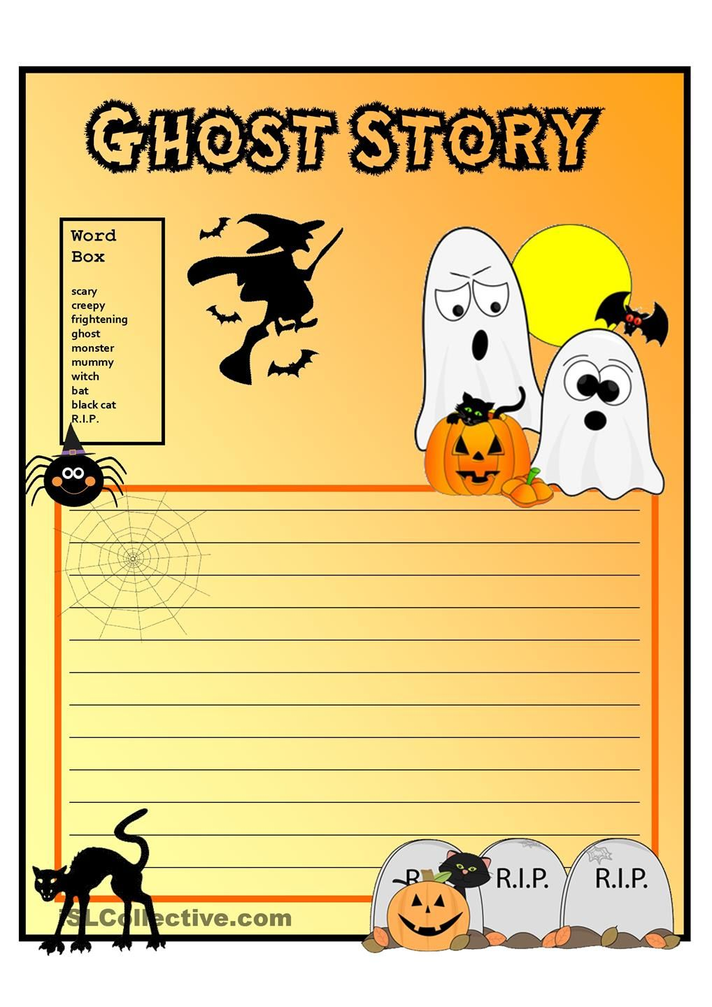 creative writing ghost story form vocabulary grade  write a scary halloween story vocabulary suggestions in word box prepare the students by reading ghosts stories to them or by talking about what a ghost