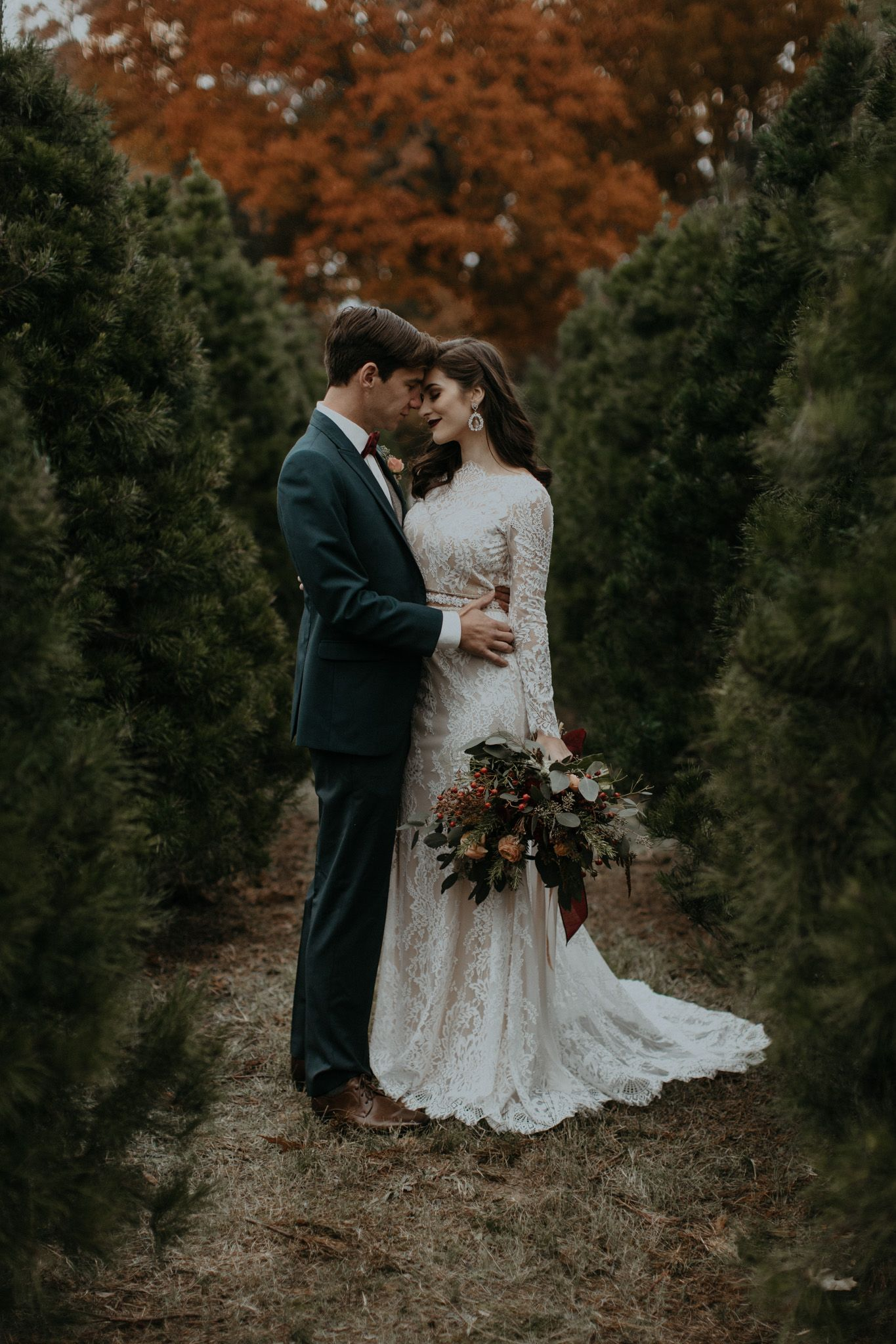 1eee721ed7b Charming Christmas Tree Farm Wedding Inspiration