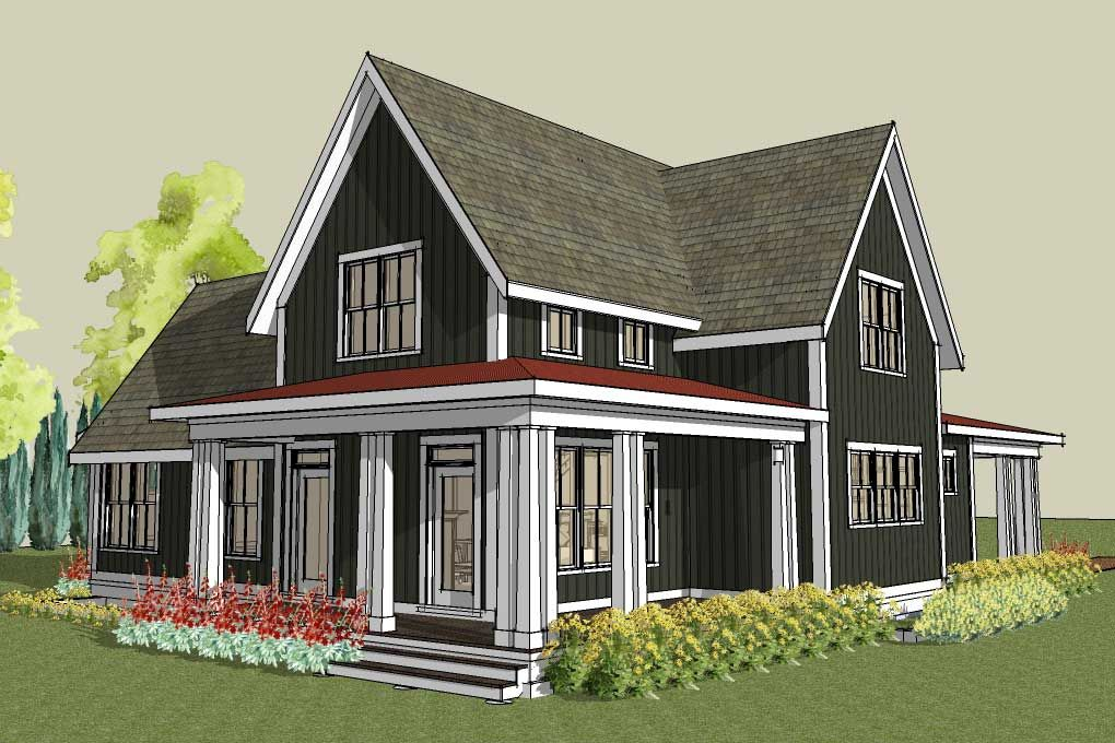 rear image of simple farmhouse plan with wrap around porch
