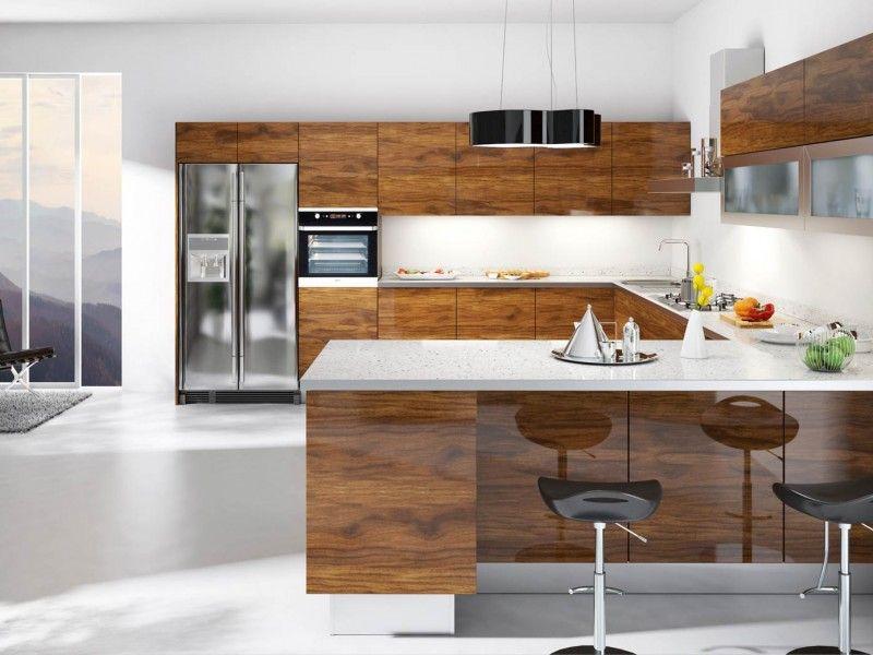 Teak Modern Kitchen Cabinets   European Kitchen Cabinets ...