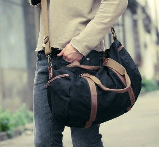 Mens hand bag Men Retro handmade canvas leather overnight duffel ...