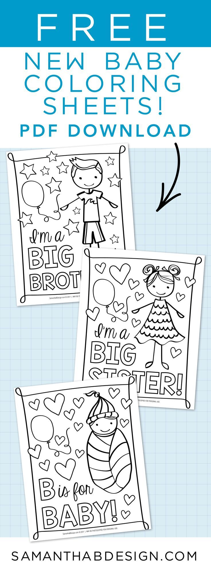 Coloring Sheets For Big Sister Big Brother Great For Baby Shower Or Hospital Gift For New Siblings Download New Baby Products Big Sister Gifts Hospital Gifts