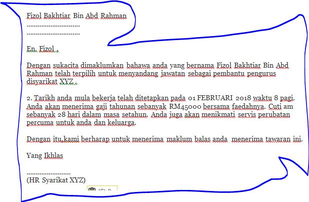 contoh surat rasmi tawaran kerja