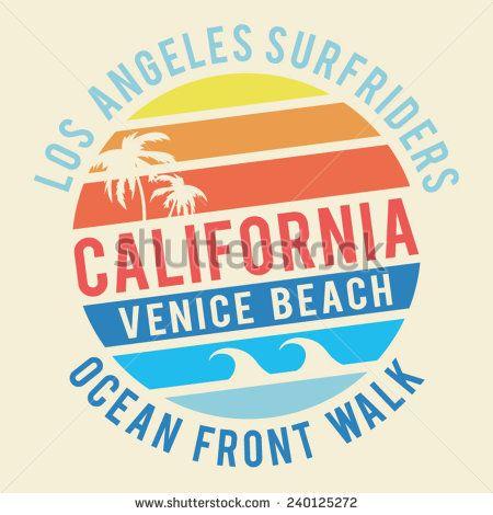 California surf typography, t-shirt graphics, vectors | Font