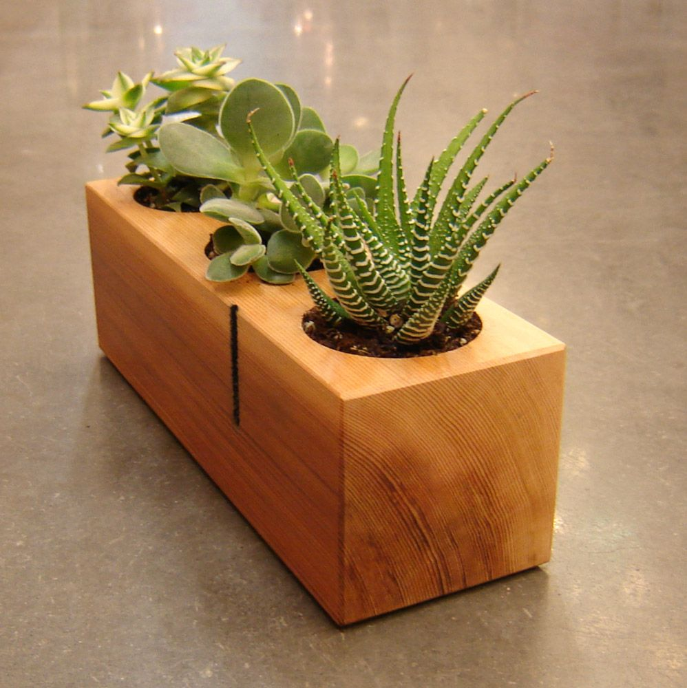 Mini planter 4 x 4 wood diy wood and clay pinterest for Zimmerdekoration diy