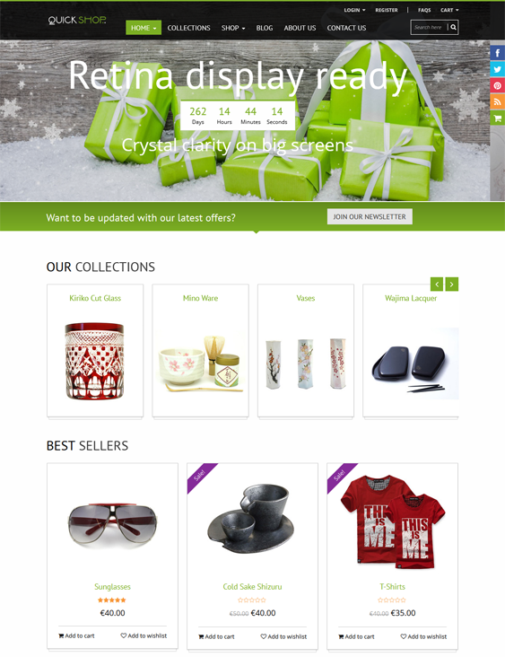 This Bootstrap Shopify theme comes with Ajax add to cart, a