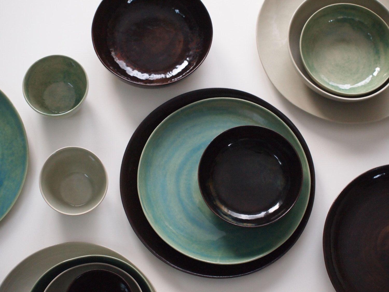 Stoneware Plates Set Handmade Pottery Stoneware Ceramic Plates Ceramic Bowls. Stoneware Dinnerware Set glazed in green and black. & Stoneware Plates Set Handmade Pottery Stoneware Ceramic Plates ...