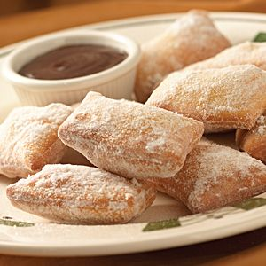 One of my all time fav desserts from Olive Garden, Zeppoli!  Italian doughnuts dusted with powdered sugar, served with chocolate sauce for dipping.  It's heavenly!