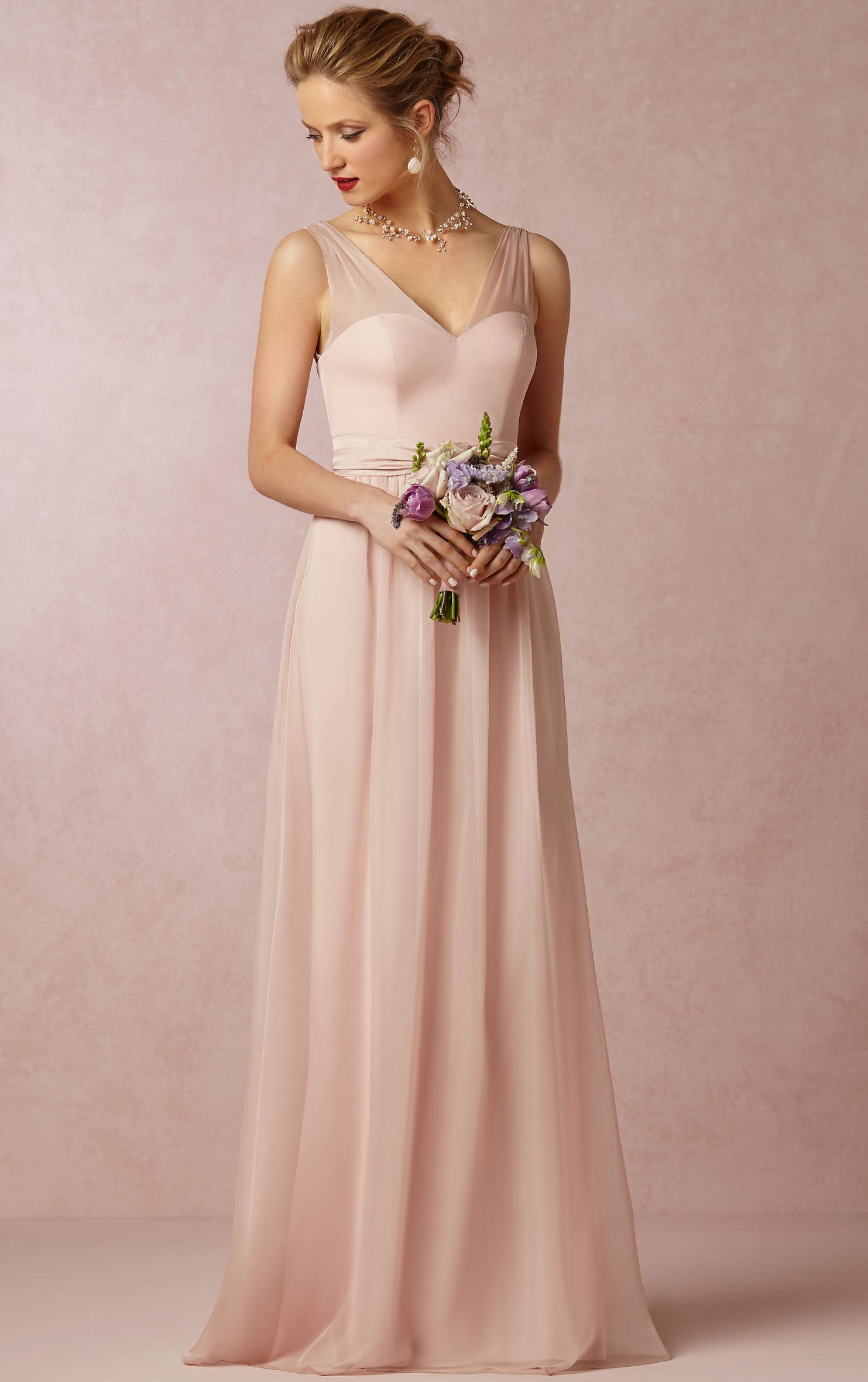 V Neck A Line Sleeveless Natural Floor Length Bridesmaid