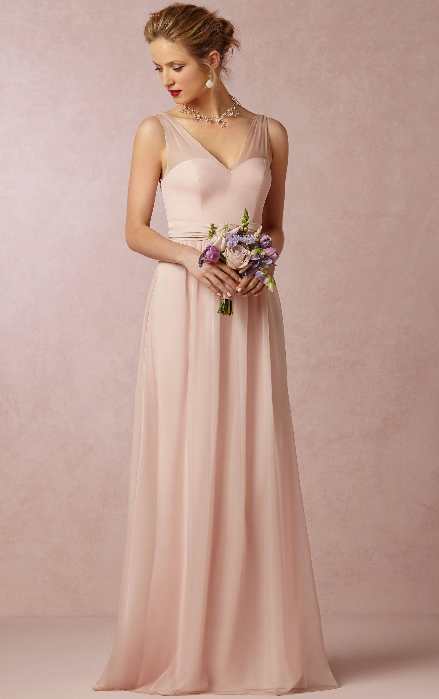 V-neck A-line Sleeveless Natural Floor-length Bridesmaid Dresses ...