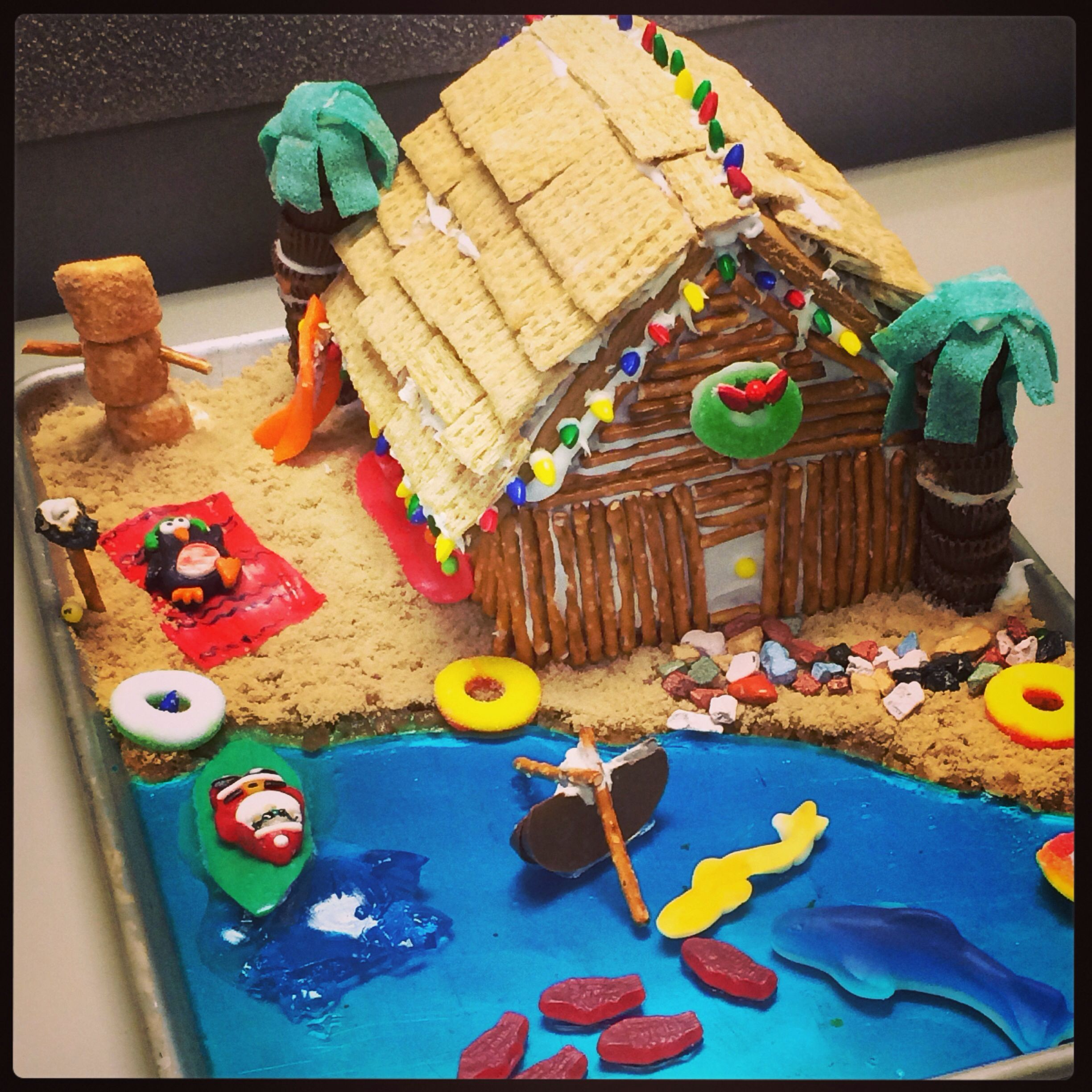 Beach Themed Gingerbread House: Tiki Gingerbread House:) We Lit A Marshmallow On Fire As A